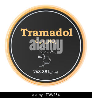 Tramadol. Chemical formula, molecular structure. 3D rendering isolated on white background - Stock Photo