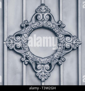 SAINT PETERSBURG,-RUSSIA - SEPTEMBER 24, 2017 Metal pattern on the gate - Stock Photo