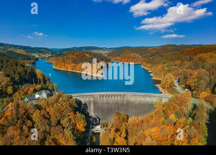 Aerial view of the agger dam in Gummersbach - Stock Photo