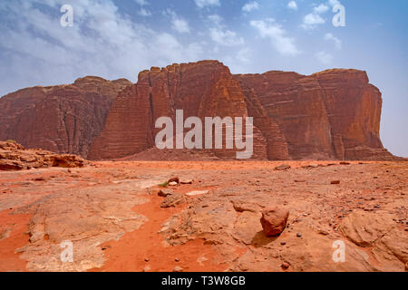 Desolate and Dramatic Desert Scene in Wadi Rum in Jordan - Stock Photo