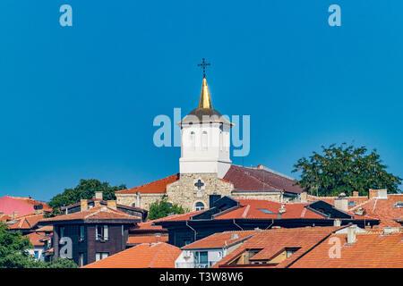Church Assumption of the Holy Virgin in Nessebar ancient city, one of the major seaside resorts on the Bulgarian Black Sea Coast. Nesebar, Nesebr is a - Stock Photo