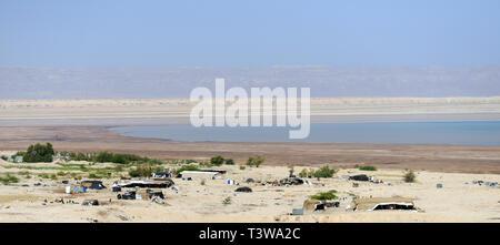 Bedouin village by the Dead Sea in Jordan. - Stock Photo