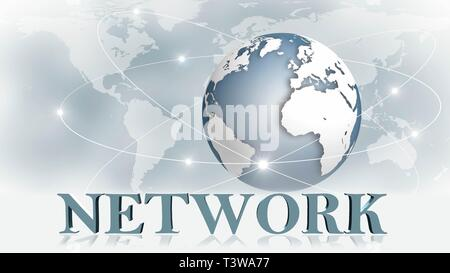 NETWORK - 3D letters in front of background image Business or Internet Concept of Global Network - 3D rendering - Stock Photo