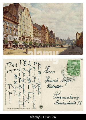 Czech-Austrian historical postcard: Picturesque view of Wenceslas square with houses, hotels, shops and the national Museum. Pedestrians. Tram. 1912 - Stock Photo