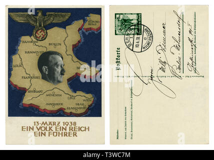 German historical postcard: A plebiscite on the question of the annexation of Austria, 1938, back side, handwriting with curls, Germany, Third Reich - Stock Photo
