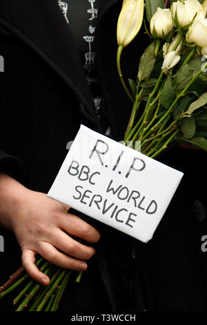 RIP BBC World Service. Protest outside Bush House against BBC plans to cut hundreds of jobs in BBC World Service. 26.01.2011. - Stock Photo