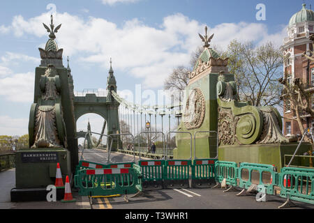 After being closed indefinitely to all traffic due to structural faults, an architectural detail of Hammersmith Bridge, on 11th April 2019, in west London, England. Safety checks revealed 'critical faults' and Hammersmith and Fulham Council has said it's ben left with no choice but to shut the bridge until refurbishment costs could be met. The government has said that between 2015 and 2021 its is providing £11bn of support to the 132-year-old bridge. - Stock Photo