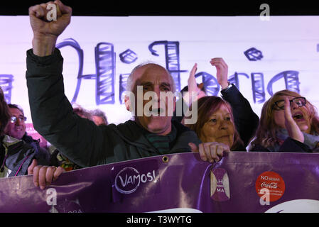 Madrid, Madrid, Spain. 11th Apr, 2019. Spanish left-wing party Unidas Podemos' supporters are seen shouting slogans during a rally to officially launch the party's electoral campaign in Madrid.The 2019 Spanish general election will be held on the 29th April. Credit: John Milner/SOPA Images/ZUMA Wire/Alamy Live News - Stock Photo
