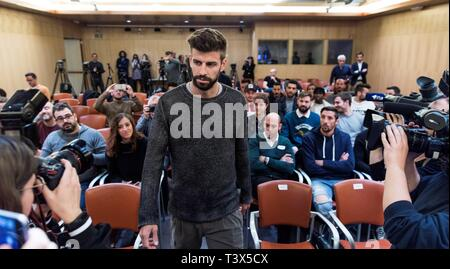 FC Barcelona's soccer player and founder and president of the Kosmos company Gerard Pique attends a press conference held to present the sponsorship of MoraBanc for FC Andorra soccer club, in Andorra la Vella, 12 April 2019. EFE/ Fernando Galindo - Stock Photo