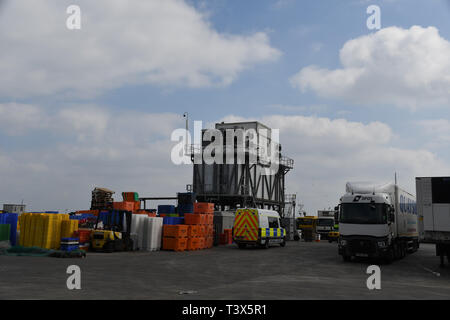 Newlyn, Cornwall, UK. 12th April 2019. Police have made a number of arrests under the modern slavery act at Cullompton after around 30 people were round in the back of a van. They were originally seen getting into the van at Newlyn earlier on this morning. There is still a police prescence at Newlyn harbour - pictured here. Credit: Simon Maycock/Alamy Live News - Stock Photo