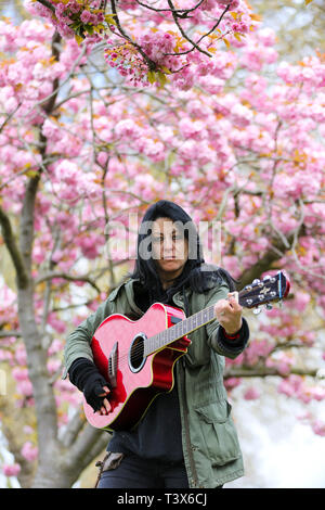London, UK. 12th Apr 2019.  Elizabeth under a Cherry Blossom tree in  a north London park   Credit: Dinendra Haria/Alamy Live News - Stock Photo