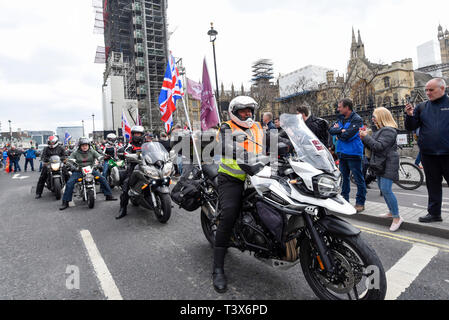 London, UK. 12th Apr 2019. Thousands of bikers take part in a rally called 'Rolling Thunder' in central London in support of 'Soldier F, a 77-year-old Army veteran who faces charges of murder after killing two civil rights demonstrators in Londonderry, Northern Ireland, in 1972, on what became known as Bloody Sunday. Credit: Stephen Chung/Alamy Live News - Stock Photo