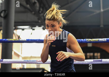 London, UK. 12th Apr, 2019. Shannon Courtenay during Allen-Browne Public Workout at Old Spitalfields Market on Friday, 12 April 2019. London England. (Editorial use only, license required for commercial use. No use in betting, games or a single club/league/player publications.) Credit: Taka G Wu/Alamy Live News - Stock Photo