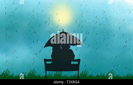 Couple in mid-autumn rainy day sitting at bench love illustration.  Cloudy sky with blurred sun. View of couple back under umbrella sitting at park.