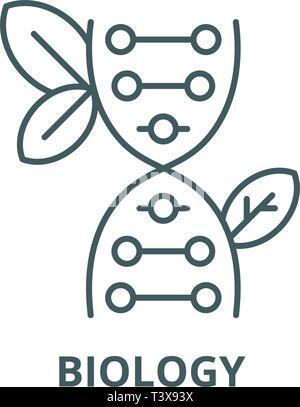 Biology line icon, vector. Biology outline sign, concept symbol, flat illustration - Stock Photo