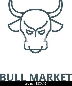 Bull market,stock market,bullish line icon, vector. Bull market,stock market,bullish outline sign, concept symbol, flat illustration - Stock Photo