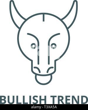 Bullish trend line icon, vector. Bullish trend outline sign, concept symbol, flat illustration - Stock Photo