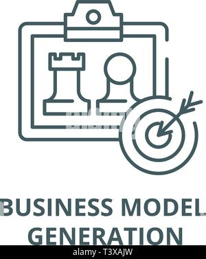Business model generation line icon, vector. Business model generation outline sign, concept symbol, flat illustration - Stock Photo