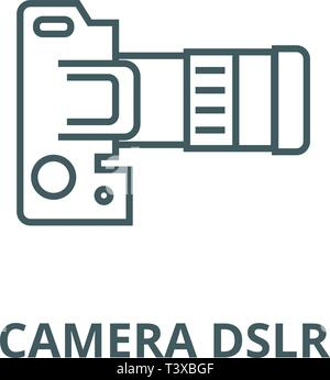 Camera dslr, top view line icon, vector. Camera dslr, top view outline sign, concept symbol, flat illustration - Stock Photo