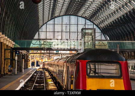 The train in the King Cross station. London - Stock Photo