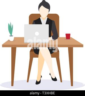 Business woman entrepreneur in a suit working on a laptop compute - Stock Photo