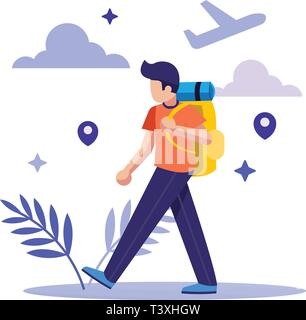 Tourists with Map and Backpack. Traveling - Stock Photo