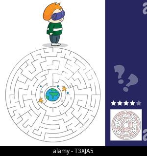 Boy with VR headset in space. Maze games find the path. Vector illustration. VR Space scenes. - Stock Photo
