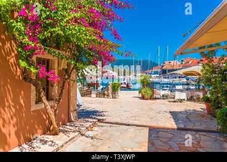 Fiskardo village and harbor on Kefalonia Ionian island, Greece. - Stock Photo
