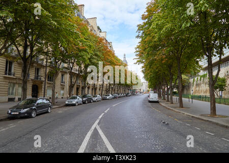 PARIS, FRANCE - JULY 23, 2017: Empty street with trees and car parked in summer in Paris, France - Stock Photo