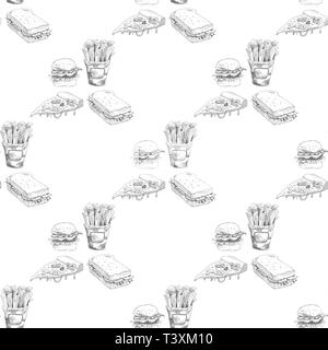 Hand drawn fast food pattern. Burger, pizza, french fries detailed illustrations. - Stock Photo