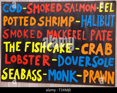 Gurneys, sea food, shop, sign, wet fish, fishmonger, Drove Orchards Farmshop, Thornham, Norfolk, UK. - Stock Photo