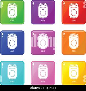 Can icons set 9 color collection - Stock Photo