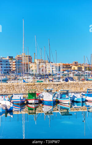 Yachts and boats in the port of Syracuse, Sicily, Italy - Stock Photo
