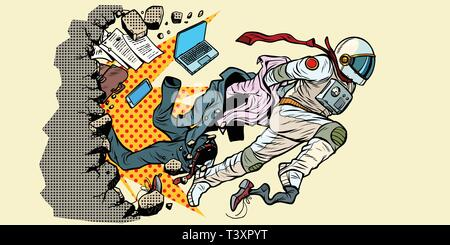 dream of being an astronaut, leader breaks out of stereotypes. breaks the wall New life space and science. Pop art retro vector illustration vintage k - Stock Photo