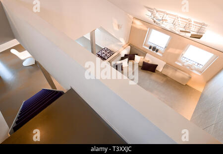 Overhead view of loft in modern home - Stock Photo