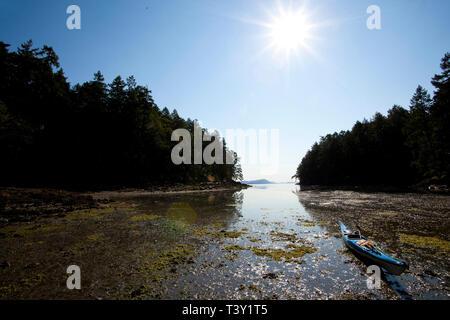 Boat mooring in murky water, Gulf Islands, British Columbia, Canada - Stock Photo