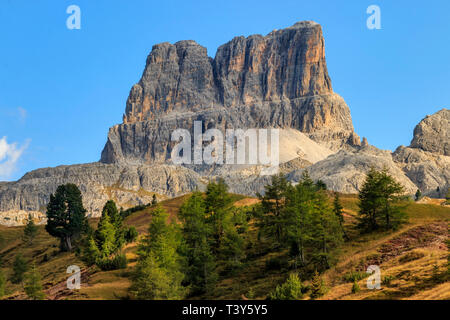 A view of Mount Averau, a peak in the Dolomiti d'Ampezzo mountain range. Taken from the prairies of Falzarego Pass, a high altitude road pass linking  - Stock Photo