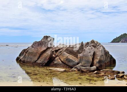 Beautiful rock formations at the beach on the paradise island Seychelles - Stock Photo