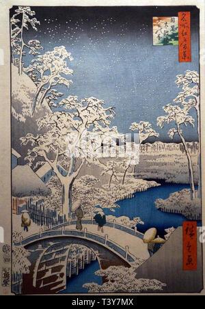 One Hundred Famous Places of Edo: Arched Bridge and Yuhioka Hill in Meguro, by Utagawa Hiroshige, Edo period, 1857 - Stock Photo
