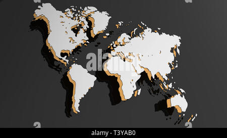White 3D world map illustration isolated - Stock Photo