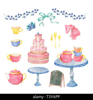 Watercolor pink tasty cake, table, cup tea, menu, bow for celebration birthday card. Cute hand drawn clip art on white background. - Stock Photo