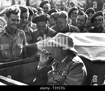 Winston Churchill at the front of the Italian campaign. - Stock Photo