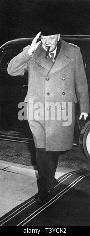 Winston Churchill arriving at the Yalta Conference February 1945 - Stock Photo