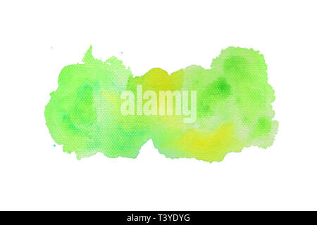 Green and yellow textured watercolor on canvas background - Stock Photo