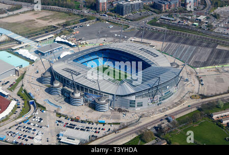 An aerial view of Manchester City Etihad Stadium complex, North West England, UK - Stock Photo