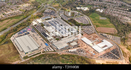 An aerial view of Jaguar Land Rover plant at Whitley, Coventry, West Midlands, UK - Stock Photo