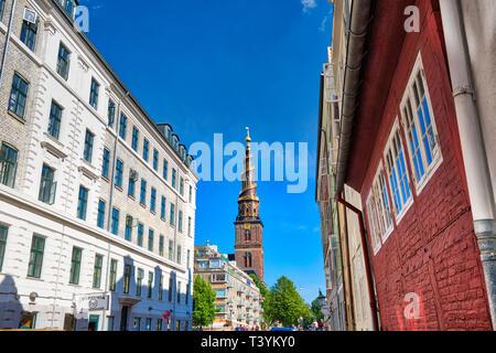 Copenhagen, Denmark-August 1, 2018: Typical Danish architecture in the historic city center
