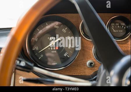 Close up of speedometer in retro Ferrari dashboard - Stock Photo