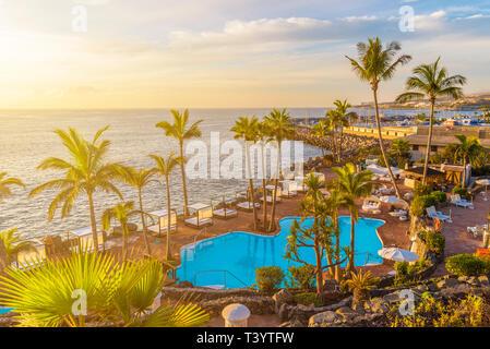 Sunset on the Adeje coast, Tenerife, Spain - Stock Photo