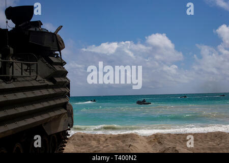 A U.S. Marine Corps amphibious assault vehicle assigned to Combat Assault Company, 3d Marine Regiment, prepares to breach the water during an amphibious assault exercise at Marine Corps Training Area Bellows, Marine Corps Base Hawaii, Apr. 9, 2019. The unit conducted a simulated beach assault to improve their lethality and cooperation, as a mechanized unit and force in readiness. (U.S. Marine Corps photo by Sgt. Alex Kouns) - Stock Photo